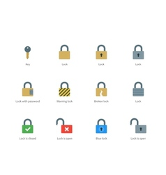Lock and key color icons on white background vector