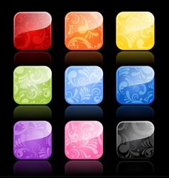 Floral glossy blank buttons vector
