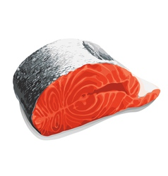 Slice of salmon vector