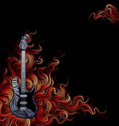 Guitar on fire vector