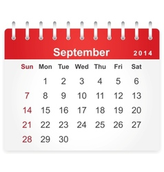 Stylish calendar page for september 2014 vector