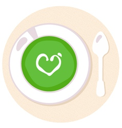 Healthy green spinach love soup in circle vector