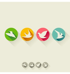 Set of birds flat icons with long shadow vector
