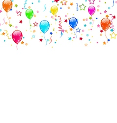 Set party balloons confetti with space for text vector
