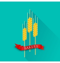 Retro with ears of wheat and red ribbon bakery vector