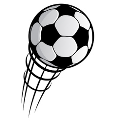 Cartooned flying soccer ball with motion trails vector