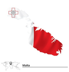 Map of malta with flag vector
