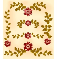Vintage vignette of red flowers and leaves vector