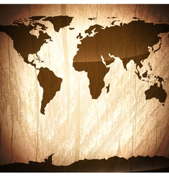 Wooden background with world map vector