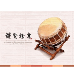 Korean traditional a big drum vector