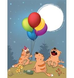 Cats celebrates birthday cartoon vector