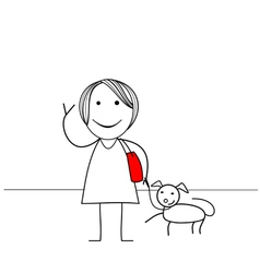Stick figure girl with dog vector