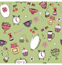 Pattern with teacups teapots sweets and flowers vector