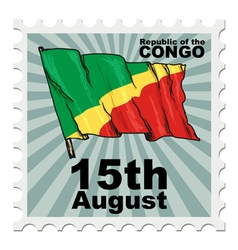 Post stamp of national day of congo vector