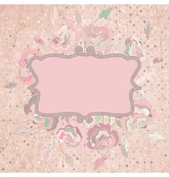 Vintage with pink rose on paper polka dot eps 8 vector