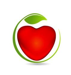 Heart and leaf logo vector