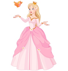 Princess and bird vector