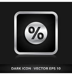 Sale percent icon silver metal vector