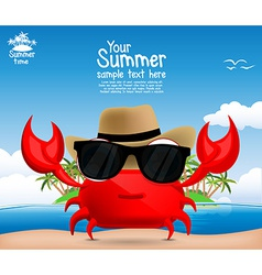 Summer background with a cute cartoon crab vector