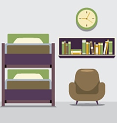 Empty bunk bed with armchair and bookcase vector