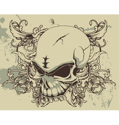 Grunge floral and skull vector