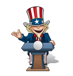 Uncle sam presidential podium open vector