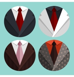 Set flat business jacket and tie vector