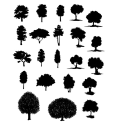 Silhouettes of assorted trees vector