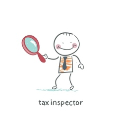 Tax inspector with magnifying glass vector