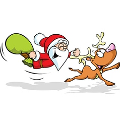 Funny of santa and reindeer flying vector