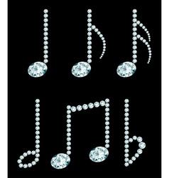 Set of diamond note symbols vector