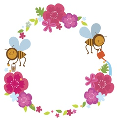 Floral wreath with two bees vector