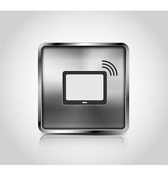 Metal icon tablet pc wireless connection vector