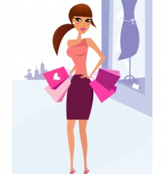 Woman shopping in the city vector
