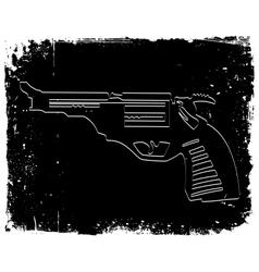Gun on black grunge background vector