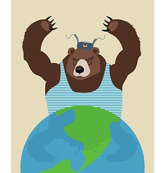 Russian bear threatens peace the globe traditional vector