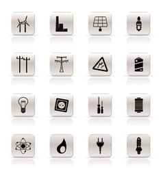 Simple electricity and energy icons vector