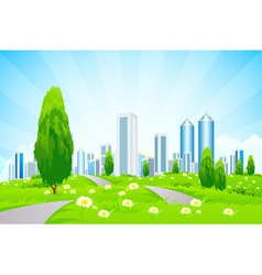 Green landscape with trees city roads vector