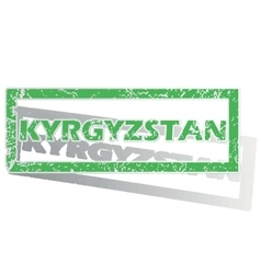Green outlined kyrgyzstan stamp vector