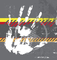 Hand print on grungy background vector