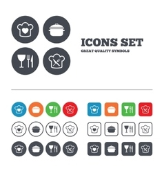 Chief hat cooking pan icons fork and knife vector