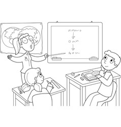Classroom with pupils and teacher vector
