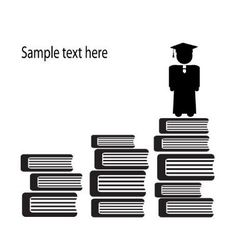 Graduate and stairs of books vector