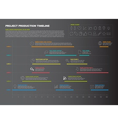 Dark project timeline graph - gantt progress chart vector
