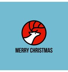 Christmas elk flat line icon vector