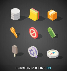 Flat isometric icons set 9 vector