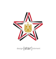 Star with egypt flag colors and symbol design vector