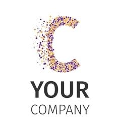 Alphabet particles logotype letter-c vector