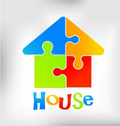 House puzzle logo vector