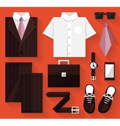 Flat business collection dress brown color vector